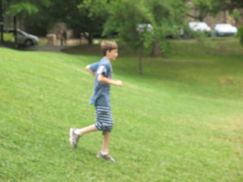 Thomas running down a hill