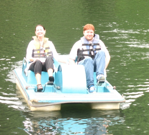 Carol and Adam on a paddle boat