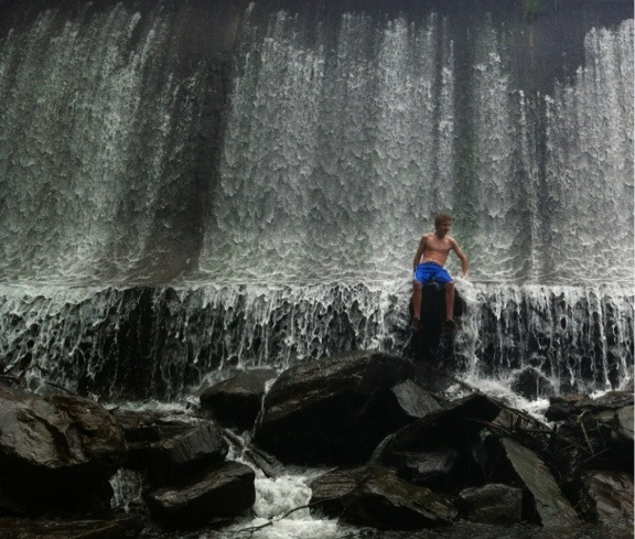 Harrison at the dam