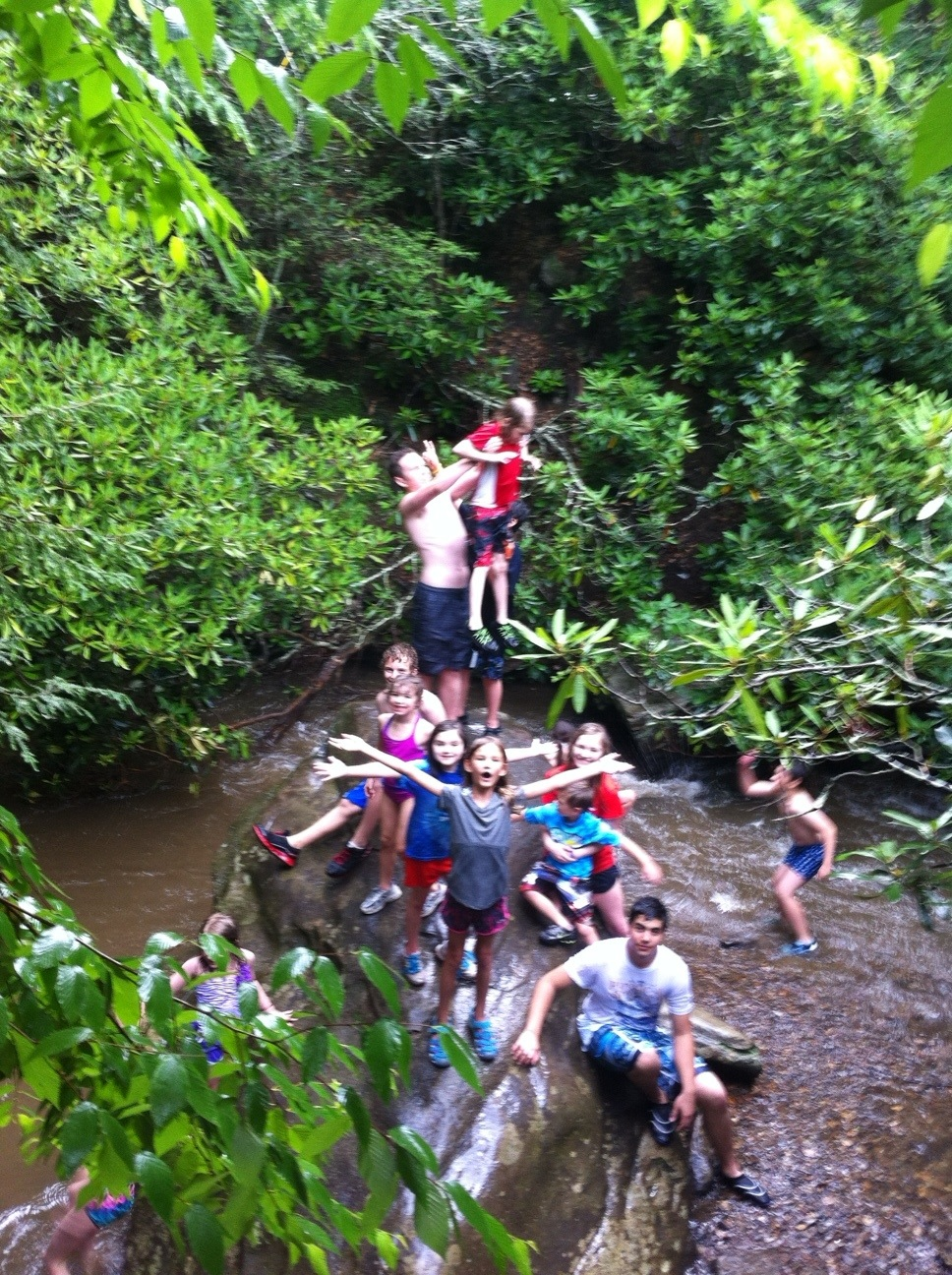 Big group of kids on the big rock