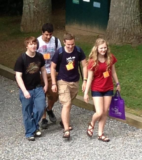 senior high kids walking to class