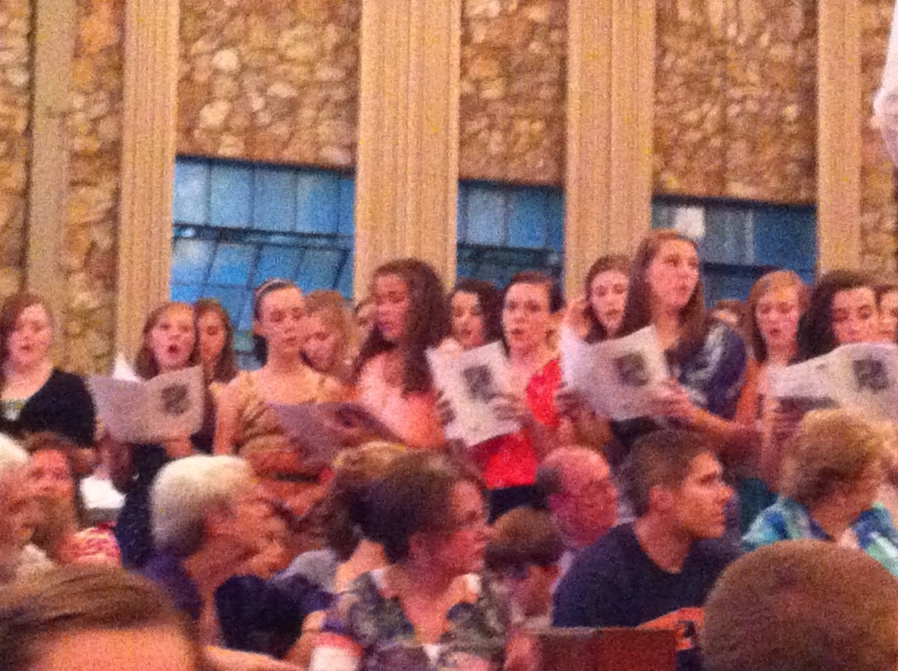 grainy picture of Emma and senior choir