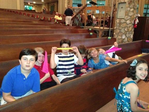 children in pew