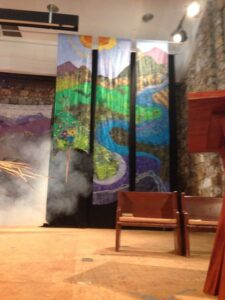 Tapestry in Anderson Auditorim, with fog maching going